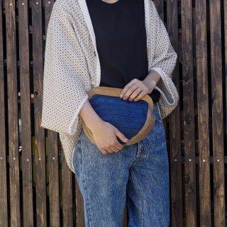 木製 麻柄クラッチバッグ/三河木綿 刺し子織