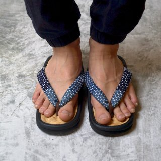 手編み草履 (男性用) /天然竹皮 山形草履/藍染刺し子織 鼻緒