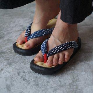 手編み草履 (女性用) /天然竹皮 山形草履/藍染刺し子織 鼻緒