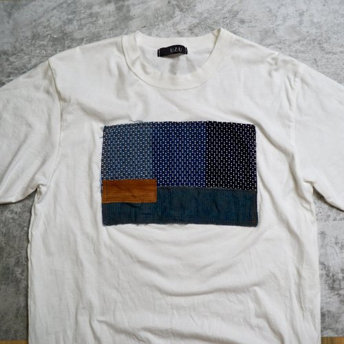 刺し子織パッチアートTシャツ/生成り/和歌山県産 ニット編生地