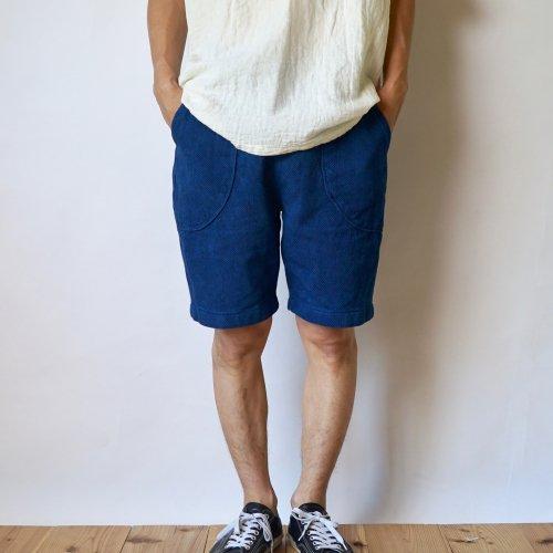 ハーフパンツ 刺し子織/本藍染/三河木綿 刺し子織