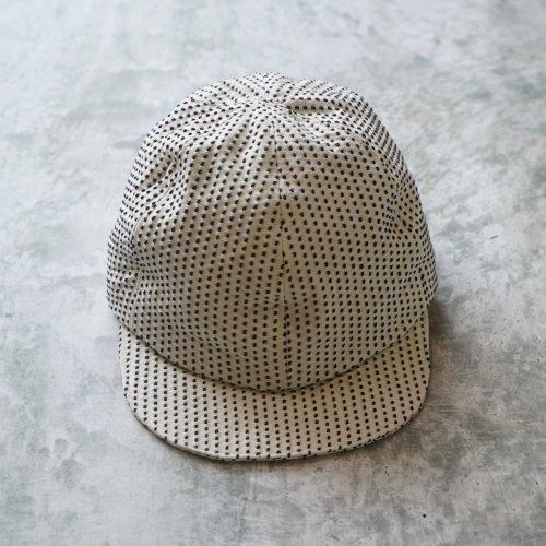 アンパイヤキャップ 一本刺し子/生成り/三河木綿 刺し子織