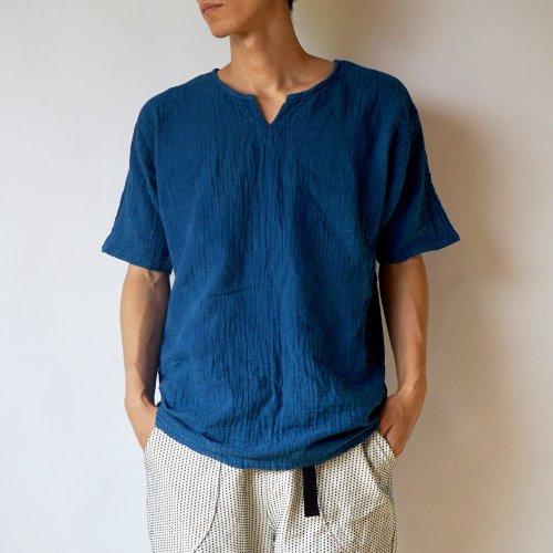 キーネックガーゼTシャツ/本藍染/知多木綿 ダブルガーゼ