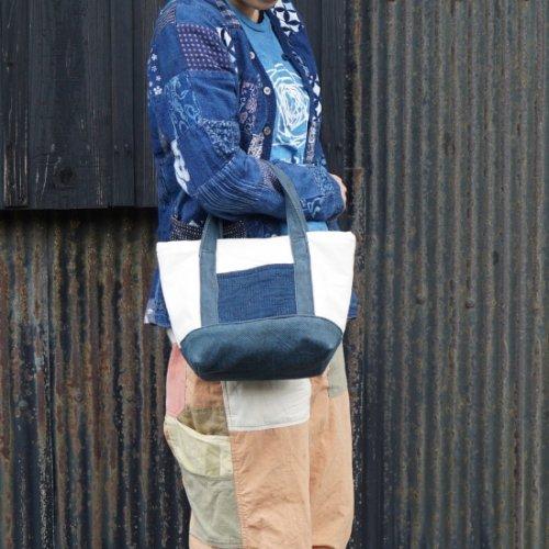 ミニトートバッグ 9号帆布/ 生成り×ブルーグレー /知多木綿