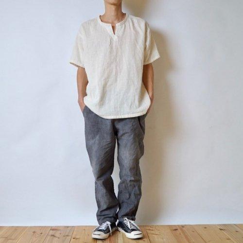 『夏の福袋』キーネックガーゼTシャツ(生成り) + サルエルパンツ(グレー)