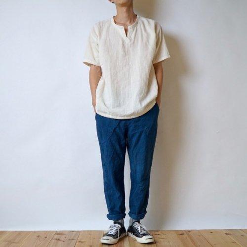 『夏の福袋』キーネックガーゼ Tシャツ(生成り) + サルエルパンツ(ブルー)