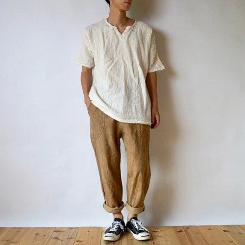 『夏の福袋』キーネックガーゼ Tシャツ(生成り) + サルエルパンツ(ブラウンベージュ)