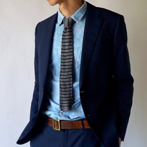 ニットタイ/ボーダーグレー / 美濃和紙糸