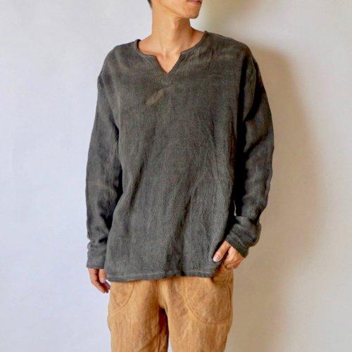 長袖キーネックTシャツ/グレー /知多木綿ダイヤガーゼ