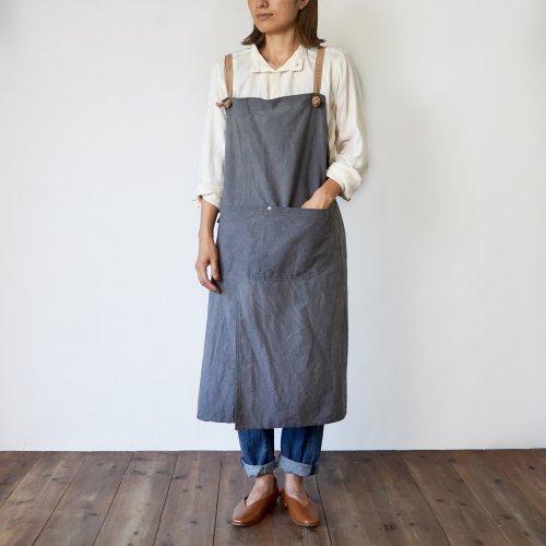 クロスエプロン/柿渋グレー/三河織物