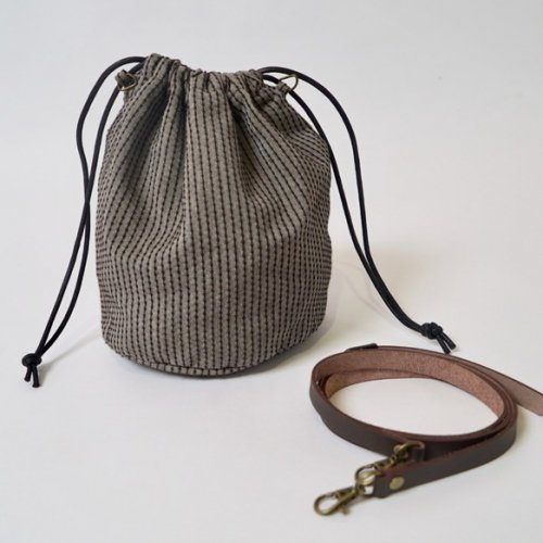 巾着バッグ(手提げ&ショルダー2WAY) /コーヒーブラウン/三河木綿刺し子織