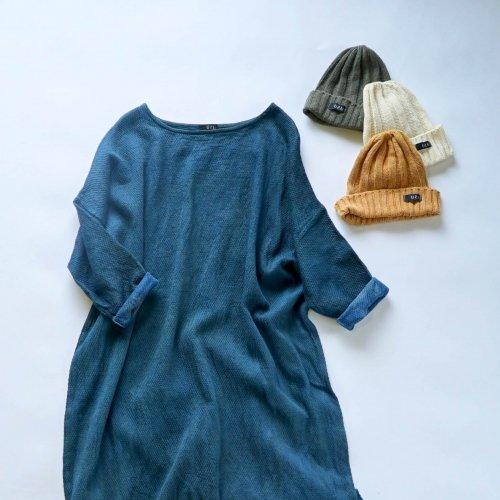 『福袋』あったか肉厚ワンピース/ブルー + シルクニット帽/3カラー