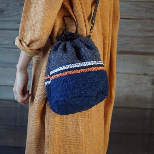 巾着バッグ(手提げ&ショルダー2WAY) /ひし形ツートン/三河織物