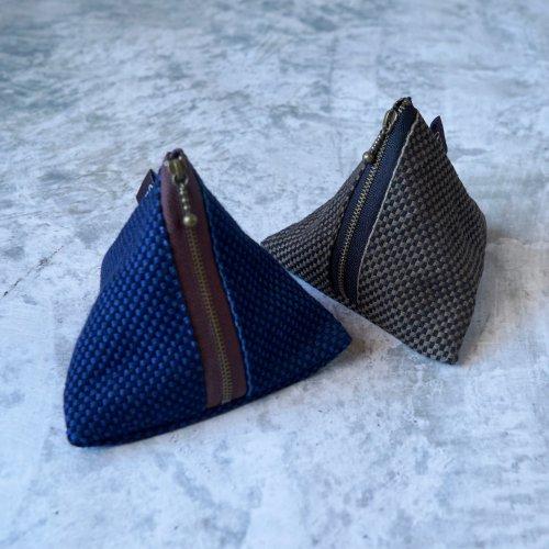 三角ポーチ/2カラー/三河木綿 刺し子織