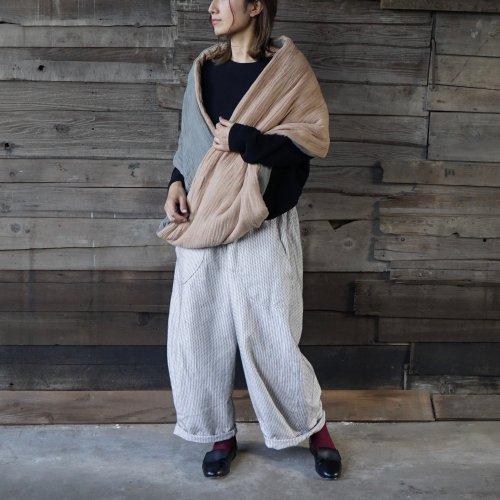『福袋』スヌードポンチョ/ベージュカーキ + 一本刺し子 バルーンパンツ/生成り