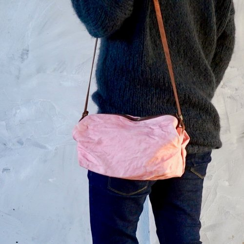 キャラメルショルダーバッグ/桜ピンク/三河織物 前掛け帆布