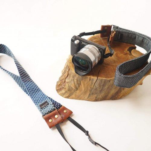 カメラストラップ/インディゴ刺し子織/遠州織物