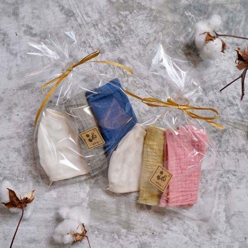 【ギフトセット】ガーゼ立体マスク/生成り + ガーゼ草木染めハンカチ2枚/知多木綿