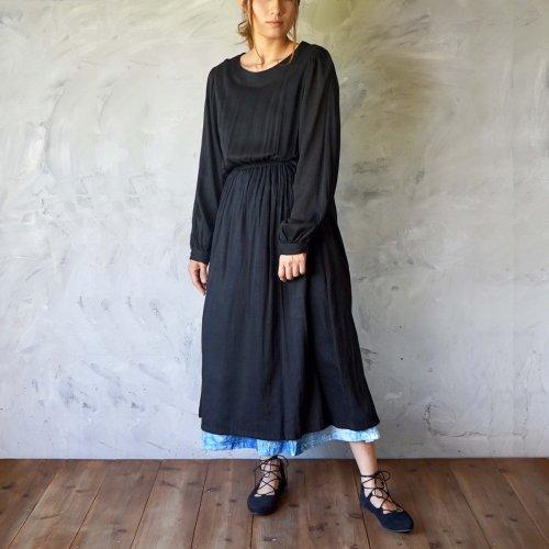 バルーンスリーブワンピース/ブラック/三河織物