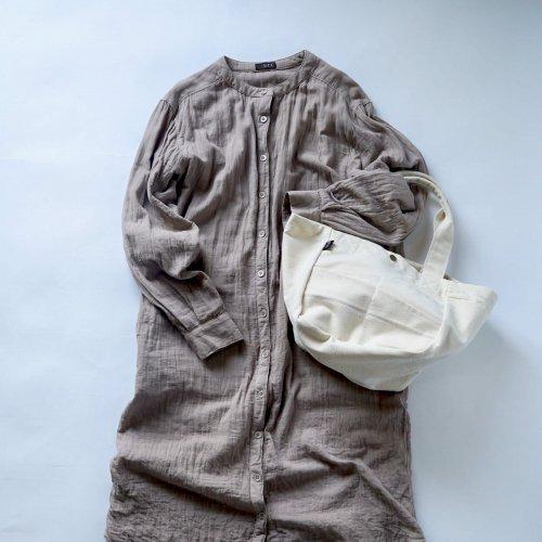 【福袋】ノーカラー ガーゼシャツワンピース/ピンクグレー+デイリートートバッグ/生成り