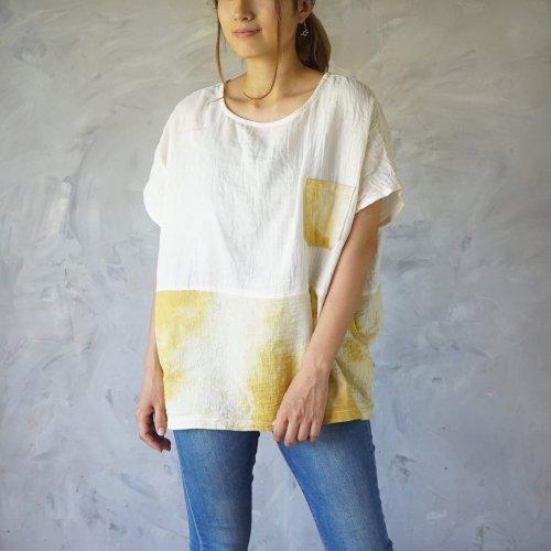 ゆったりガーゼTシャツ/ツートンまだらイエロー/知多木綿 ダブルガーゼ