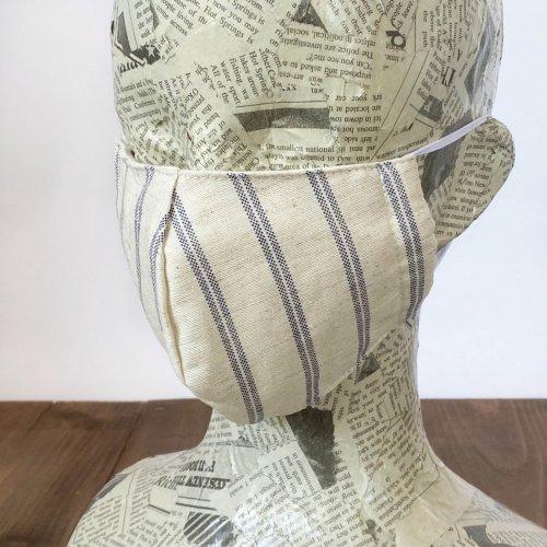 ハーフリネン立体マスク/ストライプ/三河織物