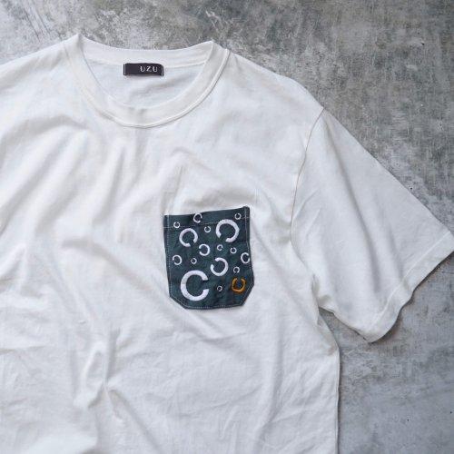 ポケットTシャツ/生成り/そーしゃるでぃすたんす柄/和歌山県産ニット