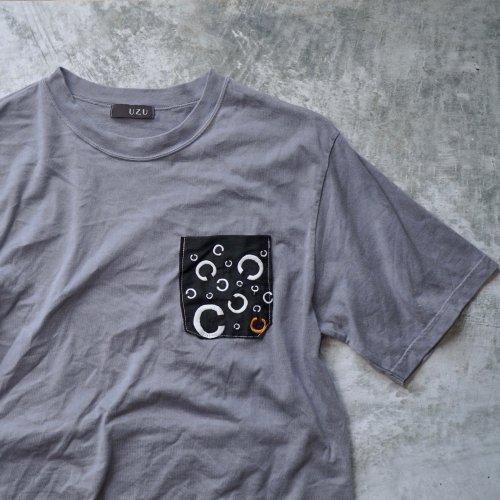 ポケットTシャツ/グレー/そーしゃるでぃすたんす柄/和歌山県産ニット