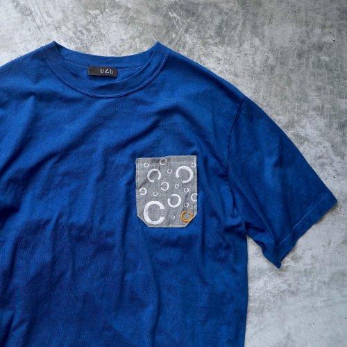 ポケットTシャツ/ブルー/そーしゃるでぃすたんす柄/和歌山県産ニット