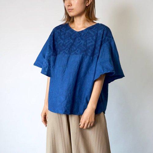 刺繍フリルスリーブTシャツ/インディゴブルー/三河織物