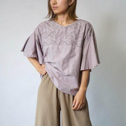 刺繍フリルスリーブTシャツ/ピンクベージュ/三河織物