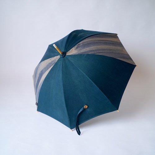 日傘/墨ストライプ×グリーン/三河織物