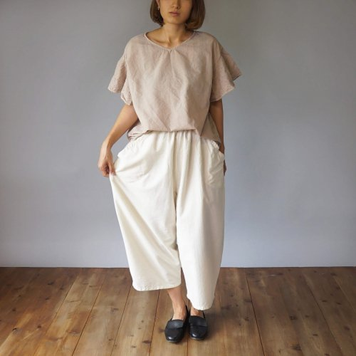 『夏の福袋』 刺繍フリルスリーブTシャツ/ベージュ + バルーンパンツ8分丈/生成り