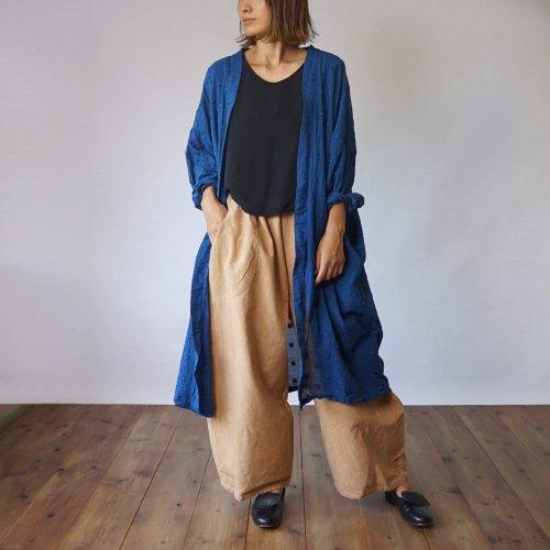 『残暑福袋』シースルー羽織りガウン/ドットブルー + バルーンパンツ/ベージュブラウン