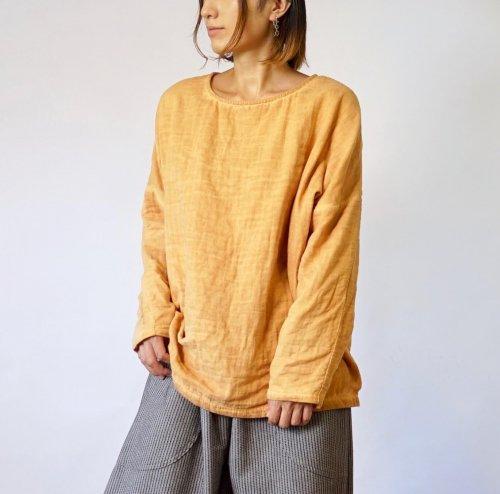 ゆったりガーゼロンT/柿渋オレンジ/知多木綿 3重ガーゼ