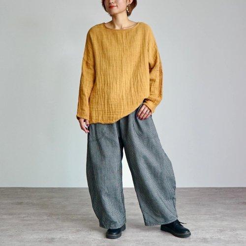 【福袋】ゆったりガーゼロンT/柿渋オレンジ + よろけ縞バルーンパンツ/コーヒーブラウン