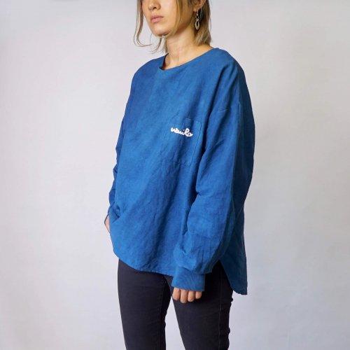 ドロップショルダーVネックロンT/ブルー/三河織物