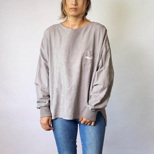 ドロップショルダーVネックロンT/グレー/三河織物