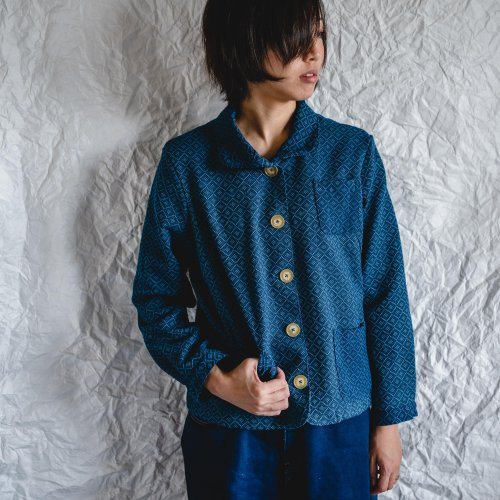 えりがわりブルゾン/四つ目ブルー/三河木綿刺し子織