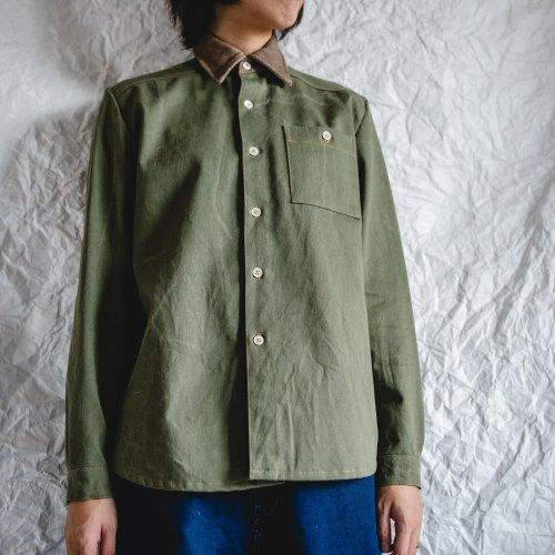 エリ刺し子シャツ/ダメージウォッシュ カーキ/三河織物