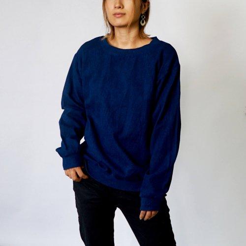 刺し子織トレーナー/ネイビー/三河木綿