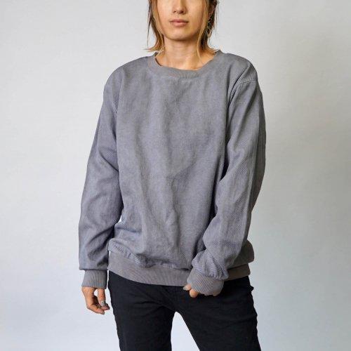 刺し子織トレーナー/グレー/三河木綿