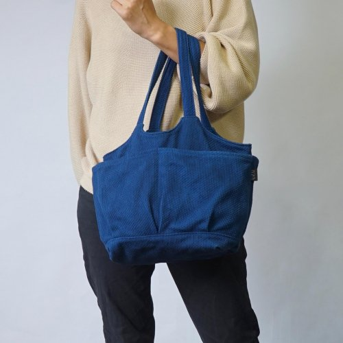 ベジバッグ (手提げ) /インディゴブルー/三河木綿 刺し子織