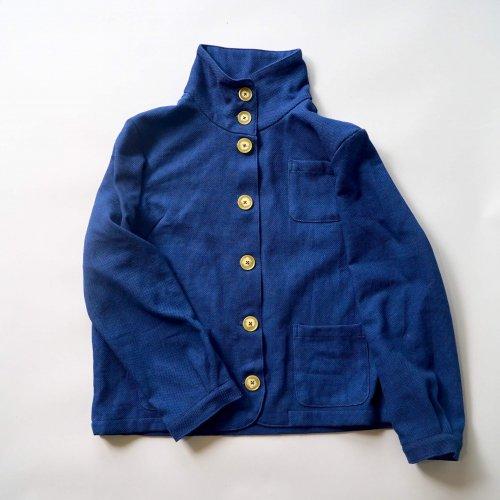 えりがわりブルゾン/インディゴ/三河木綿刺し子織