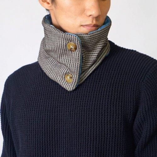 刺し子織マフラー/コーヒーブラウン/三河木綿