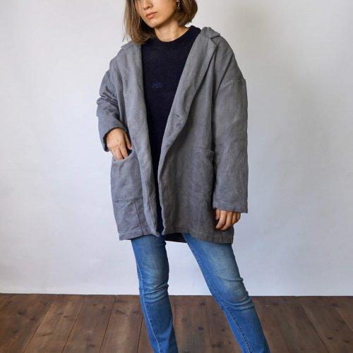 刺し子織りコクーンジャケット裏地付き/グレー/三河木綿