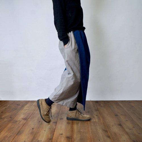 コクーン巻きスカートロング/インディゴ/三河木綿刺し子織