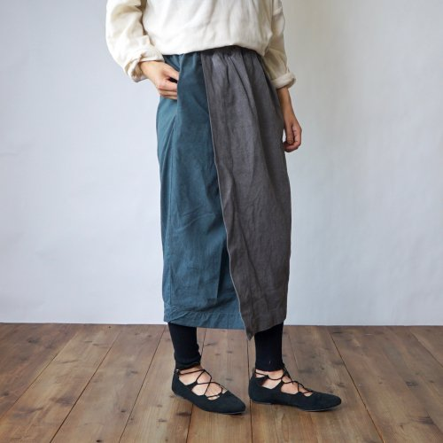 コクーン巻きスカートロング/グレー/三河木綿刺し子織