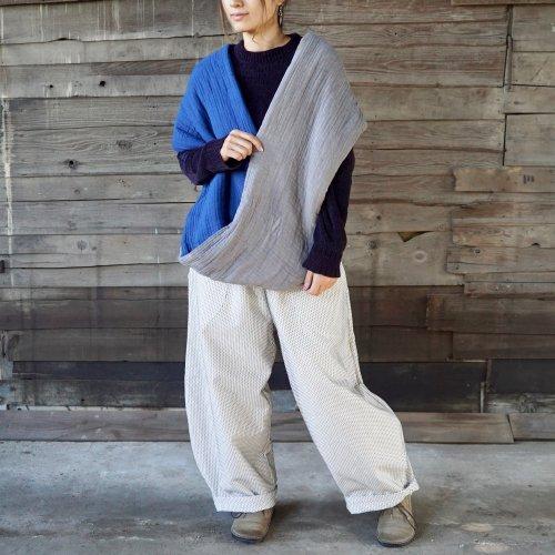 『福袋』スヌードポンチョ/インディゴグレー + 一本刺し子バルーンパンツ/生成り