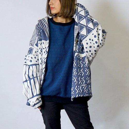 【福袋】ブルーセット - くつろ着カーディガン-UMIBE-  + 刺し子織トレーナー/麻柄